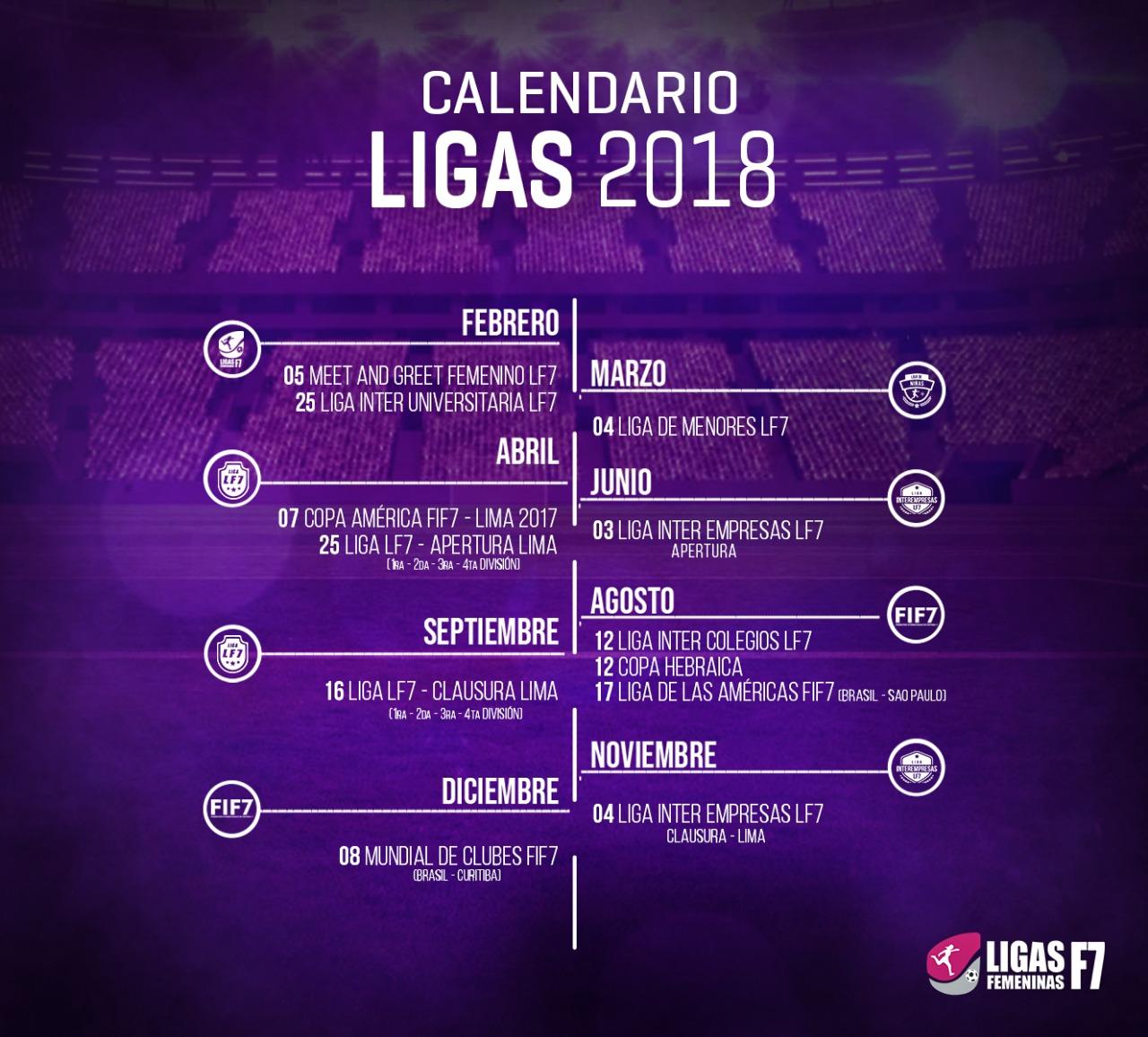 CALENDARIO LF7 2018